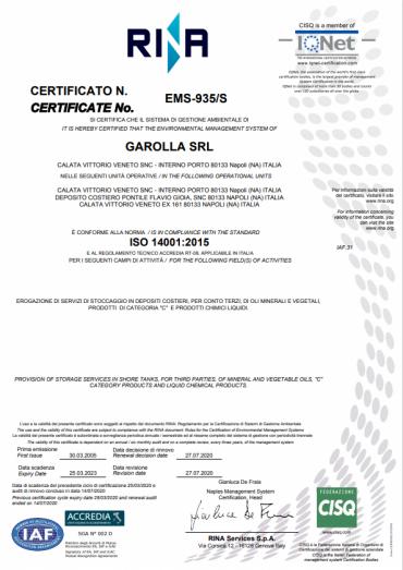 Garolla Srl - ISO 14001:2015