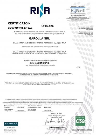 Garolla Srl - ISO 45001:2018
